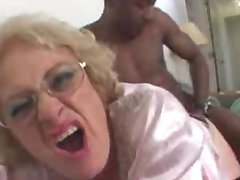 Horny old blonde takes big black cock hardcore pounding her cunt
