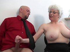 Office MILF gives harsh handjob