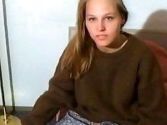 Beautiful teen with hairy pussy masturbates