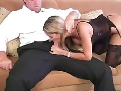 Lingerie Blonde Milf.... Does She Make Him Cum?