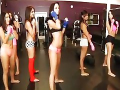 A bunch of gym girls in an orgy