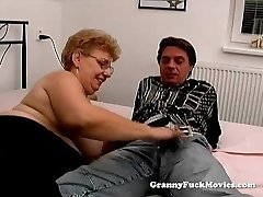 A meaty grandma has sex