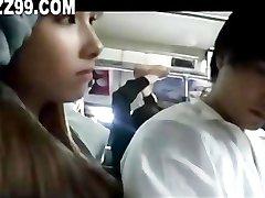 horny OL gives handjob and blowjob to bus passenger