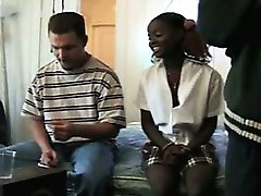 Ebony Schoolgirl Getting Interracial Threesome