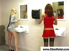 Femdom cfnm girls in the toilet