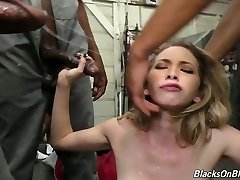 Petite Caucasian slut Angel Smalls serving a bunch of hunky mandingos
