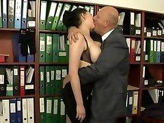 Secretary fucked by her much older boss