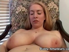 Busty amateur Calis playing humungous faux-cock
