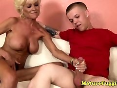 Tattooed grandma tugging midgets hard lollipop
