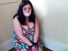 Handcuffed Chubby Slut Gasping on Beef Whistle