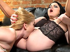 When blonde bombshell Christie Stevens meets with expert divorce lawyer Veruca James she strikes a deal to free her from her marriage to a neglectful husband. Veruca seduces Christie to make her payments with kinky lesbian sexual servitude including kissing, spanking, pussy liking, finger banging, flogging, face sitting, ass worship, bondage, and pussy and anal strap-on fucking!