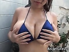 Sizzling brunette asian hoe with giant juggs