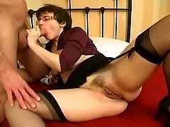 Pierced Milf in Stockings Widely Opened Anal Bang and Facial