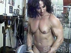 Annie Rivieccio Bare Woman Bodybuilder in the Gym