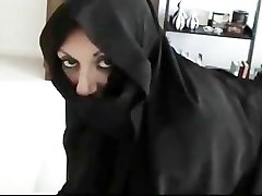 Iranian Muslim Burqa Wife gives Footjob on American Mans Humungous American Hard-on