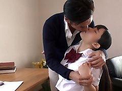 Japanese school cutie entices her tutor and sucks his delicious cock in 69 posture