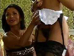 Mature gal and her ebony maid doing a guy - vintage