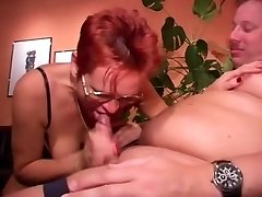 Pierced Mature in Glasses Ravages Fatty