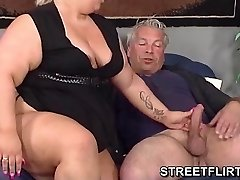 Real big fat BBW gives some grubby suck off