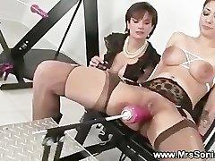Gagged tart and her fucking machine