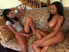 Hot young ebonies share cock