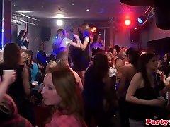 Lesbian amateur at euro orgy party finger-banging gash