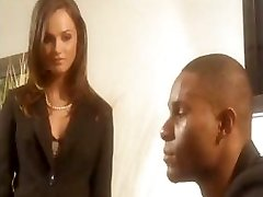 Black-haired babe Tori Black bj's on his ebony cock and then fucks it