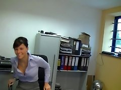 Hot German secretary in ebony stockings internal ejaculation fuck