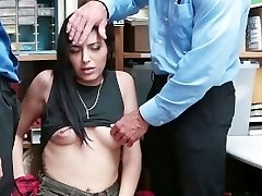 Shoplyfter - hipster nubile gets caught between two bones