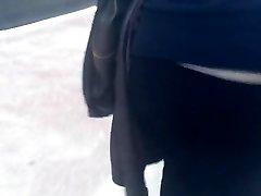 Enormous booty Russian milf in dark-hued jeans