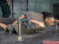Bound ebony sub in yoke toyed as penalty