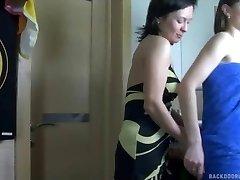 Lesbian anal sex in the bathroom