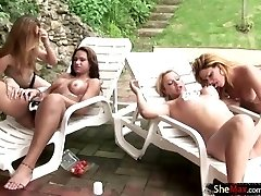 T-babes in foursome de-robe bare by pool and fuck hard cocks