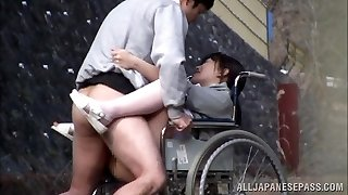 Horny Japanese nurse inhales cock in front of a voyeur