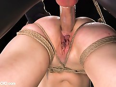 Lorelei Lee crawls for cock in this feature update. Beautiful all natural blonde Lorelei Lee is bound at the end of a leash to take cock down her throat and in her ass at the hands of a sadistic slave trainer and his gimp.