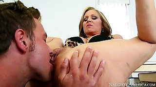 Sassy platinum-blonde mommy Julia Ann gets her muff gobbled and fucked by Van Wylde