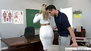 Extremely handsome big racked blonde educator was fucked right on the table
