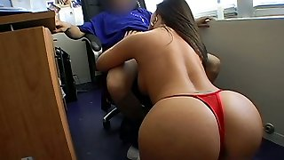 Curvaceous mommy is giving deepthroat blowjob to her boss