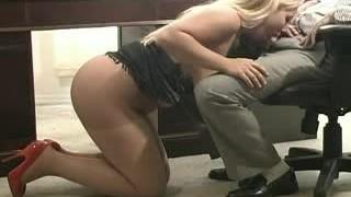 Blonde Pantyhose Oral Job