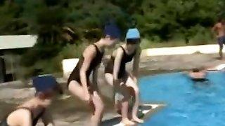 cute teenage wear dissolve swimsuit in swimming pool 01