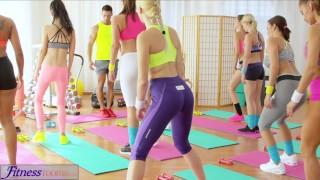 FitnessRooms Young teens fuck gym professor's phat cock