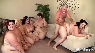 5 Horny BBWs plumbed by 3 cocks
