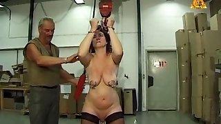 Mature gimp slut Heidy with heavy genital n nip piercings