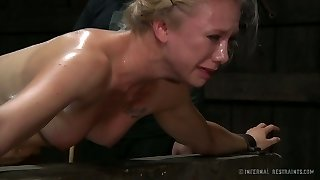 Poor blonde cutie T.Appetizing got her sweet backside spanked hard by her cruel mentor