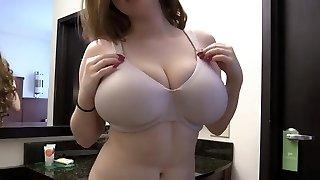 Teen displaying her sweet big mellons