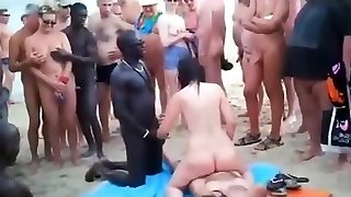 Fuck-a-thon on the beach with public