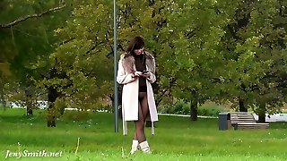 Jeny Smith pantyhose suit in public