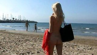 Stunning towheaded teen micro bikini and naked on public beach