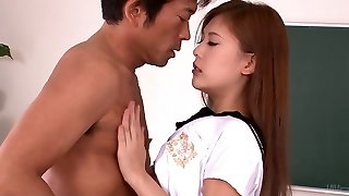 Mesmerizing fresh faced Yura Kasumi gives steamy oral job to kinky professor
