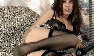 Vintage MILF in dark-hued underwear and stockings